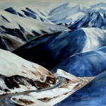 South island mountains winter snow palette knife