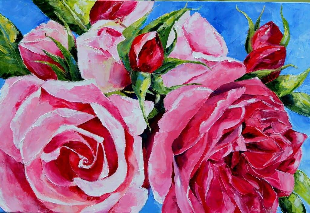 Rose palette knife oil painting