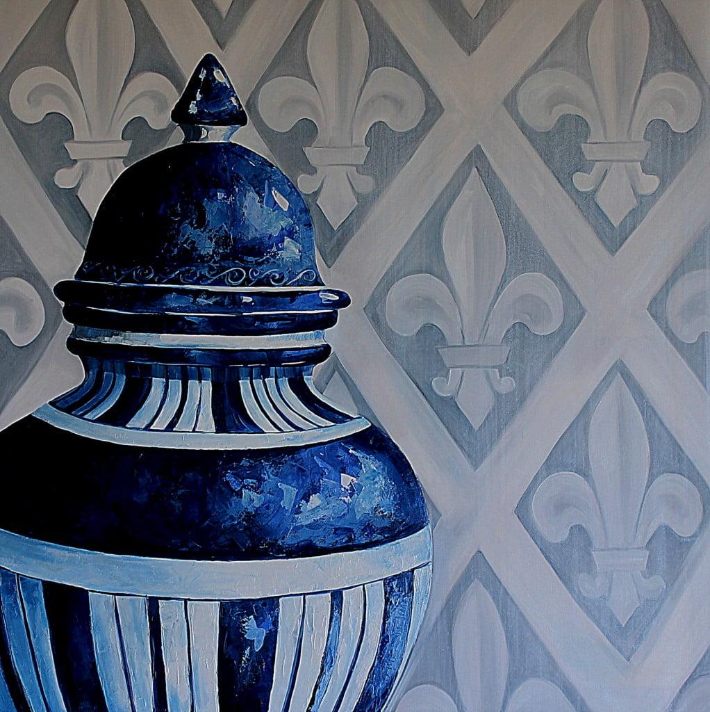 Ceramics Blue china oil paintring